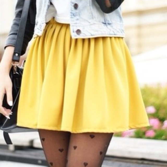 skirt yellow pants skater skirt heart