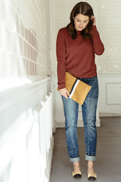 sequins and stripes,blogger,jeans,ballet flats,red sweater,pouch,mustard,bag,sweater