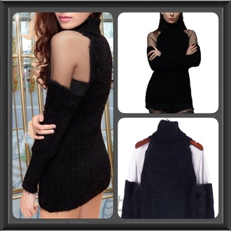 blouse sweater black top mesh top fashion style clothes