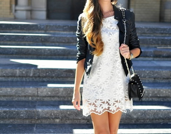jacket edgy cute black leather white dress lace floral bike white floral dress mid thigh length