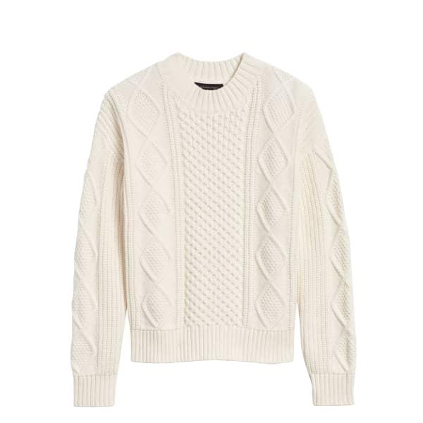 Banana Republic Women's Cable-Knit Cropped Sweater White Regular Size M