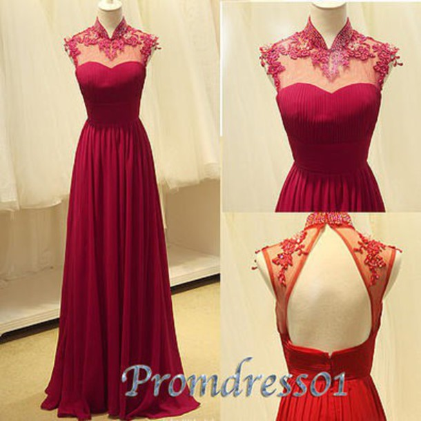 dress prom dress burgundy burgundy dress formal dress red oriental backless dress