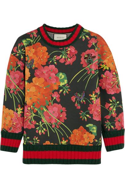 sweatshirt floral cotton print red sweater