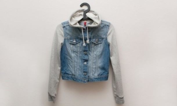 Jacket: denim, hooded jacket, demin hoodied jacket, blue denim ...