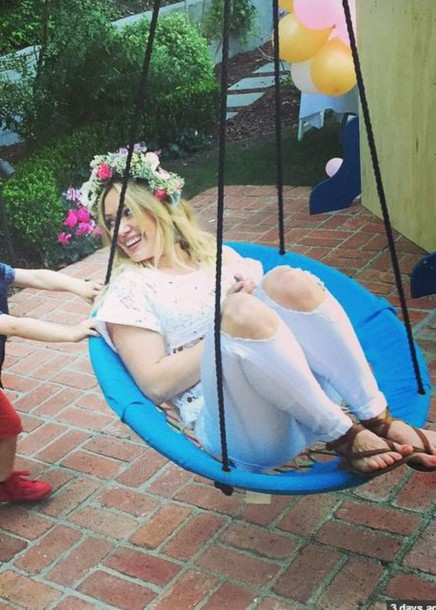 shoes sandals hair accessory hilary duff ripped jeans instagram white jeans
