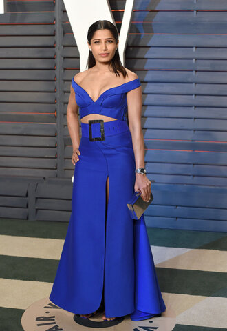 cut-out dress cut-out blue blue dress maxi skirt top bustier bustier dress slit maxi skirt slit dress freida pinto oscars 2016