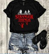 shirt,stranger things,the upside down,white,red,black