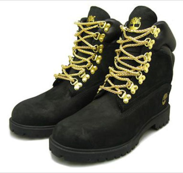 Shoes: gold, boots, black, chain, gold chain, black timberlands ...