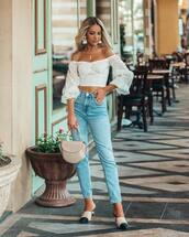 top,off the shoulder topc,crop tops,shoes,bag,denim