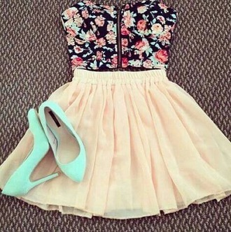 top short floral skirt shoes