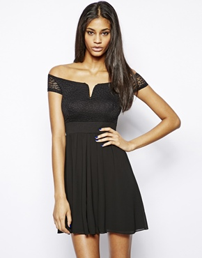 TFNC | TFNC Bardot Off Shoulder Dress In Chiffon and Lace at ASOS