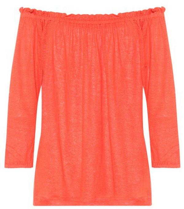 81hours Pin off-the-shoulder linen top in orange