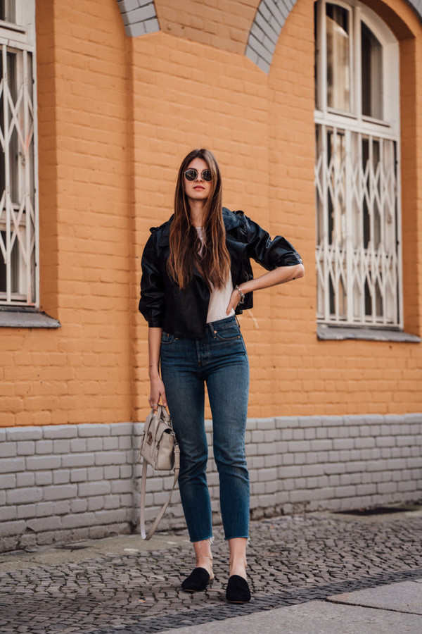 jacket leather jacket black jacket jeans white top sunglasses bag