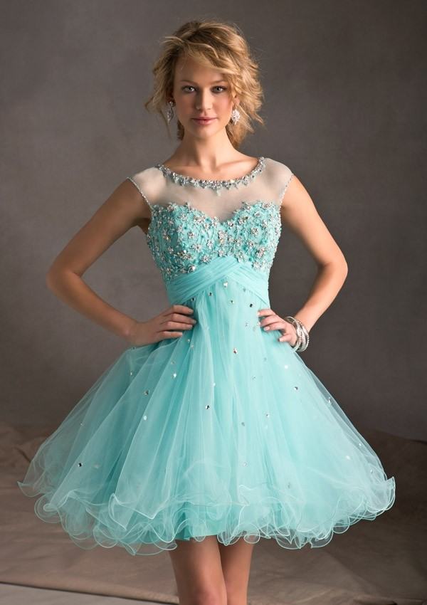 Jewel Mini Green Beading Organza A Line Cocktail/Homecoming Dress Oss0015