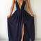 Simple a-line backless chiffon black long prom dress, evening dress - 24prom