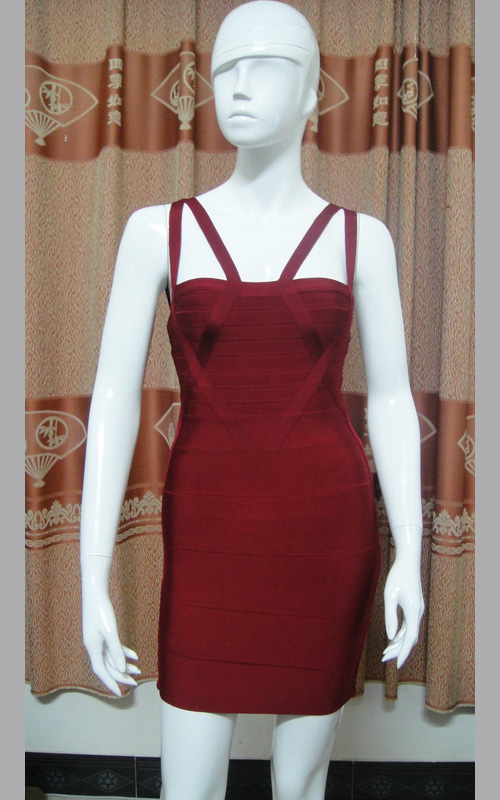 Herve Leger Shoulder Straps Novelty Wine Bandage Dress [Herve Leger Open Back Mini Bandage Dress] - $152.00 :