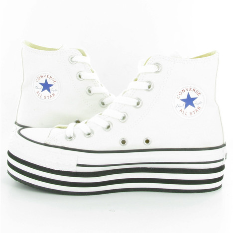 Converse Allstar Platform Hi Wedge Shoes in White
