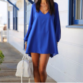 dress,blue dress,bag,blue,beautiful,girl,girly,pretty,happy,over size dress,long sleeve dress,summer dress,white,heels,white heels,classy dress,cute dress,high heels,highheels heels,strappy heels,summer,long sleeves,trendy,fashion,style,chiffon,cute,elegant,rose wholesale-feb