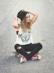 shirt,beanie,converse,jeans,muscle tee,vans warped tour,red converse,blouse,white,black and white,tank top,t-shirt,tumblr clothes,street,hipster,hat,skateboard,skater girl,swag,black skinny ripped jeans,top,clothes,trendy,cool,casual,pants,grunge t-shirt,white blouse,outfit idea