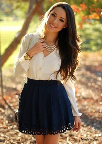 blouse beige blouse white blouse skirt