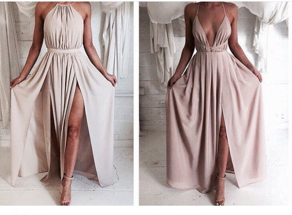 f6945feebc1b Simple A-line Backless Chiffon Long Prom Dresses, Formal Dresses ...