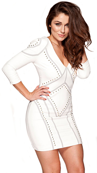 dress dream it wear it clothes white white dress grey long sleeves long sleeve dress v neck v neck dress studded studded dress gold bodycon bodycon dress party party dress sexy party dresses sexy sexy dress party outfits summer summer dress summer outfits spring spring dress spring outfits fall outfits fall dress winter outfits winter dress classy classy dress elegant elegant dress cocktail cocktail dress date outfit girly birthday dress holiday dress holiday season celebrity celebrity style celebrities in white red carpet red carpet dress mircea monroe