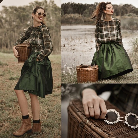 women skirt sunglasses green autumn sweatershirt fashion ourfit shoes