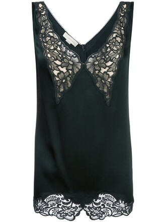blouse lace green top