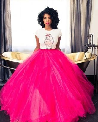 skirt tulle skirt maxi skirt kelis pink skirt celebrity style nas soft pink tutu puffy skirt