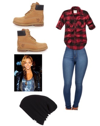 abercrombie & fitch plaid timberlands beanie hat beyonce cute beanies style boots jeans fashion fall outfits