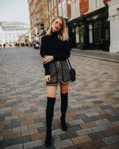 sweater,black sweater,knitsweater,mini skirt,zipped skirt,suede boots,black boots,thigh high boots,hoop earrings,shoulder bag,sunglasses