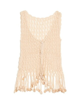 top crochet top shell embellished crochet cream