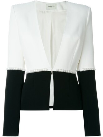 blazer pearl embellished white jacket