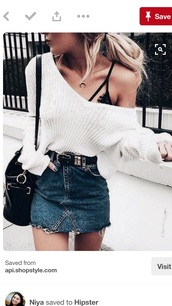 skirt,blue jeans,white,sweater,summer,black,bra,v neck,knit,white sweater,jumper,oversized sweater,trendy,clothes,blouse,fashion,jeans,fashin,short,underwear,off the shoulder,cute,classy,casual