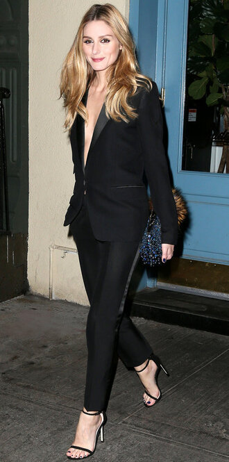 shoes sandals olivia palermo suit pants blazer all black everything blogger
