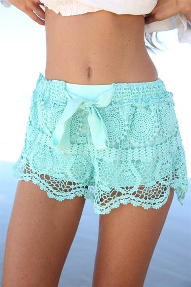 Milla Crochet Shorts - Mint | SABO SKIRT