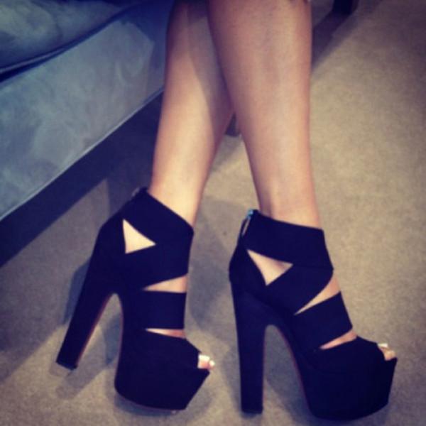Black Platform Heels With Strap