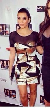 dress,kim kardashian,sexy,short party dresses,gold,shapes,geometric,sheer