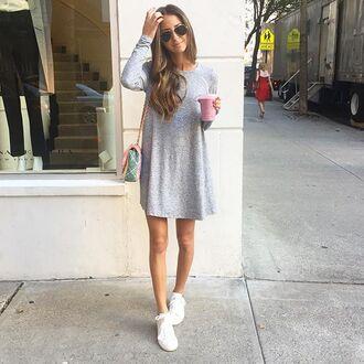 dress gray sneakers white bag