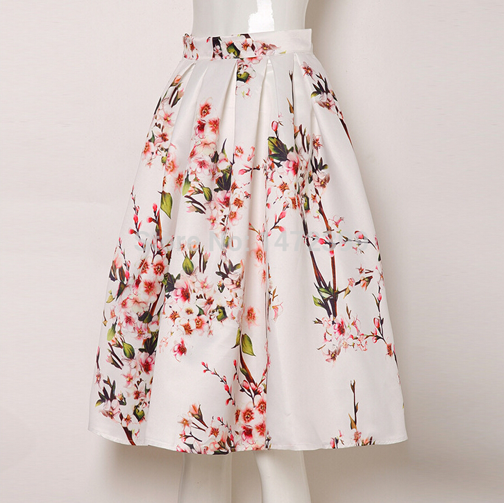 Sakura Floral Print High Waist Pleated Knee Length Midi Skater ...