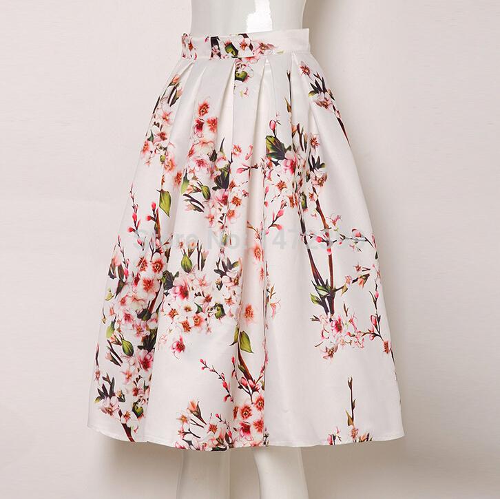 155303db081d 2015 Sakura Floral Print High Waist Pleated Knee Length Midi Skater Skirt 2  Colors White/Black ...