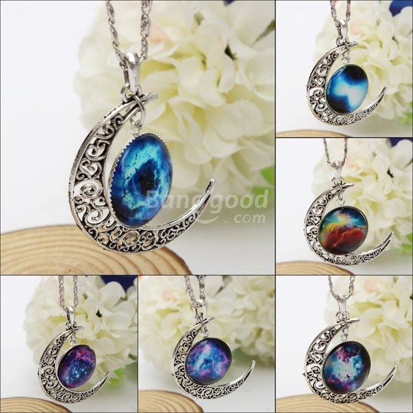 Silver Plated Moon Galactic Universe Glass Cabochon Pendant Necklace - US$1.75