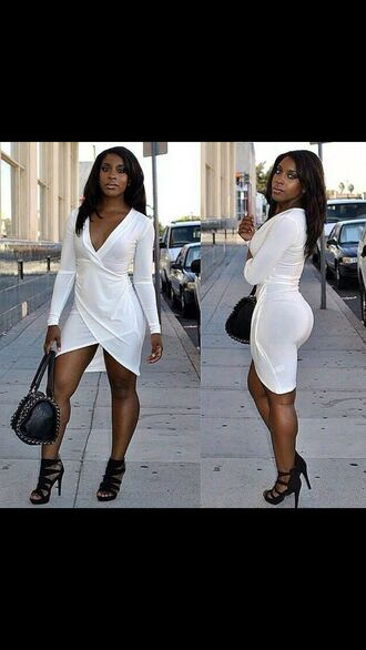 white dress hot curvy african american black girls killin it booty purse heels bag sexy sexy dress high heels streetwear shoes