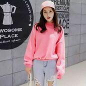 sweater,pink,korean fashion,shanghai trends,shanghaitrends,pink sweater,korean street fashion,aw17