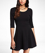 THREE-QUARTER SLEEVE STRETCH COTTON SKATER DRESS | Express