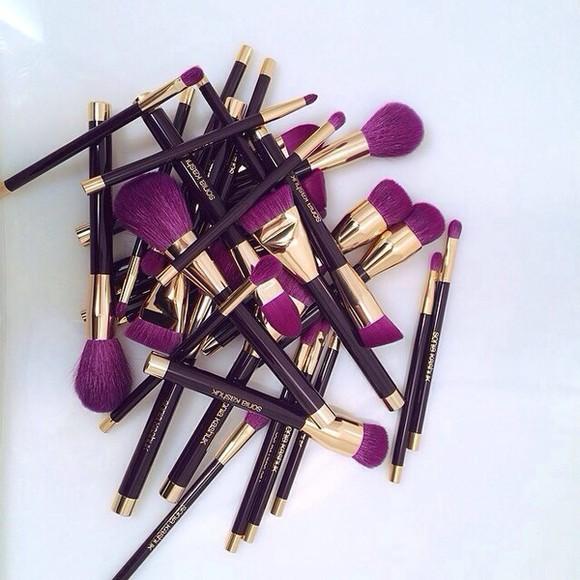 make-up brushes golden purple make up brushes nail polish make up makeup brush purple