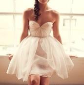 dress,tulle dress,white dress,skater dress,a line dress,sweetheart dress,homecoming dress