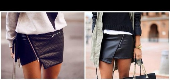 skirt asymetric skirt black lether lether skirt