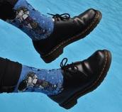 socks,DrMartens,tumblr,blue,printed socks