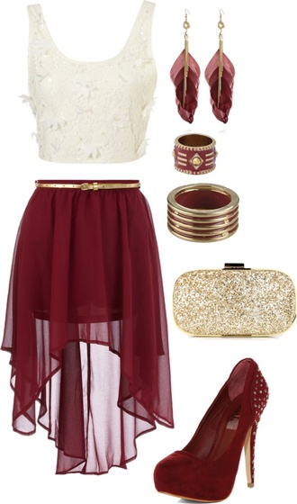 chiffon skirt burgundy skirt white crop tops feather earrings gold clutch clutch suede pumps suede shoes burgundy shoes gold belt see through skirt maroon/burgundy top burgundy short flowy high heels crop tops